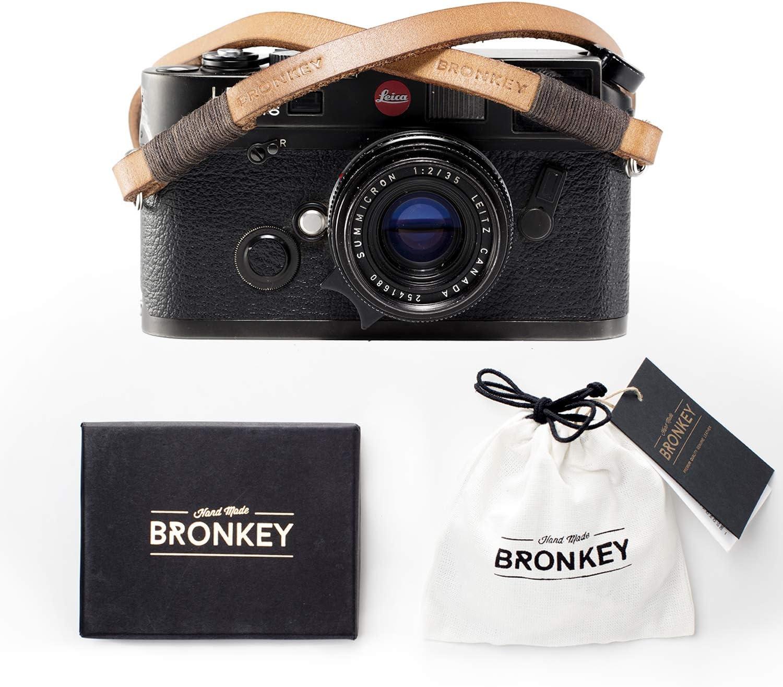 Bronkey Tokyo 106 (120 cm) - Correa para Cámara compacta - Cuello Hombro Vintage Retro cámara Piel Cuero Original Enganche Universal para Sony, Fuji, Leica, Pentax, Etc.