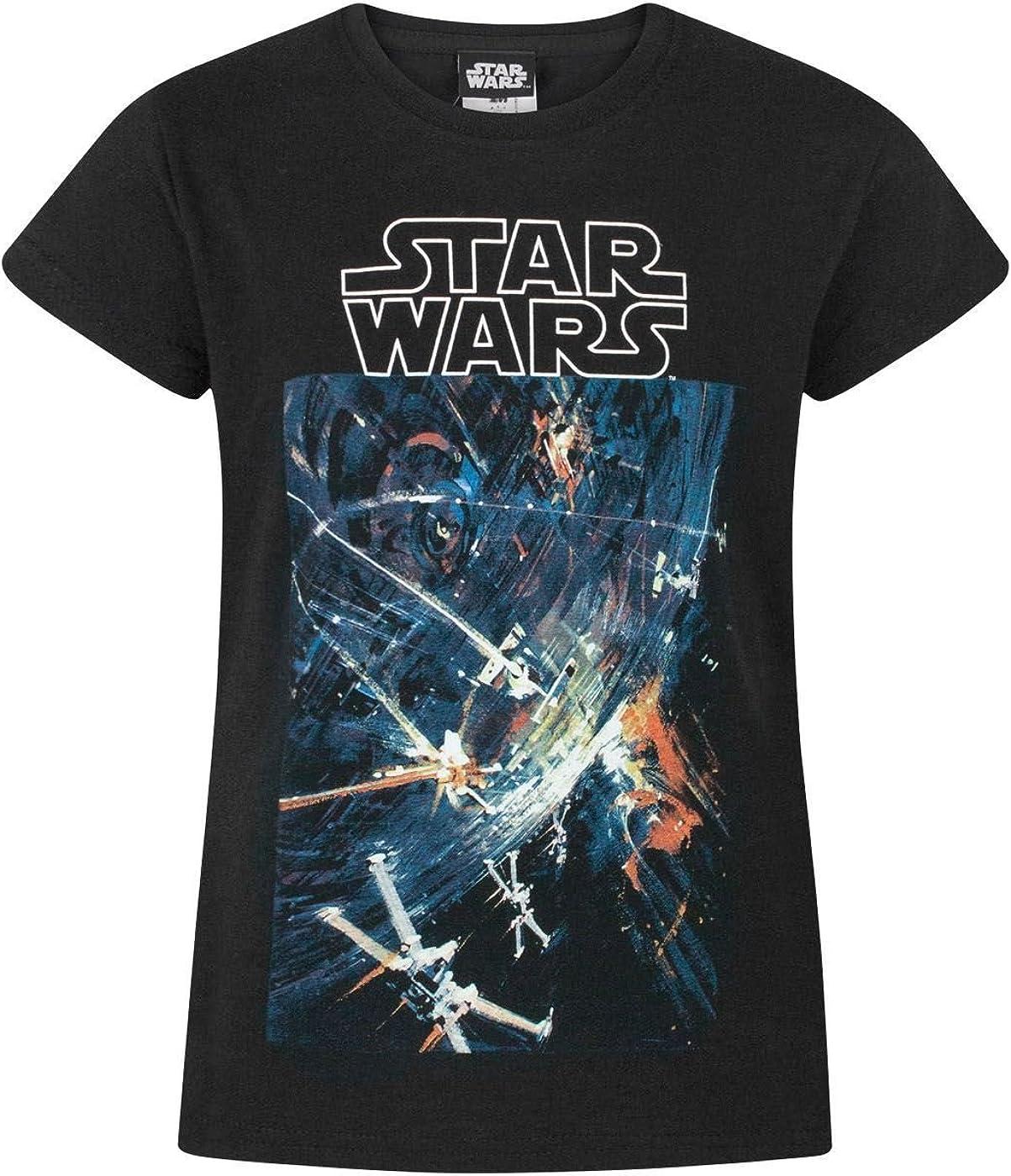 Star Wars La Camiseta Estrella de la Muerte Negro Corto Manga de la Muchacha: Amazon.es: Ropa y accesorios