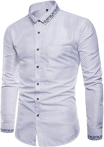GRMO - Camisa de Vestir para Hombre, Manga Corta, diseño de Lunares: Amazon.es: Ropa y accesorios