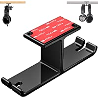 Tongke Headphone Stand Hanger, Aluminum Stick-On Adhesive Under Desk Dual Headset Holder Mount Hook with Cable Organizer…