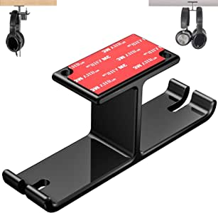 Tongke Headphone Stand Hanger, Aluminum Stick-On Adhesive Under Desk Dual Headset Holder Mount Hook with Cable Organizer Hanger for Gaming Headphone Earphone (Black)