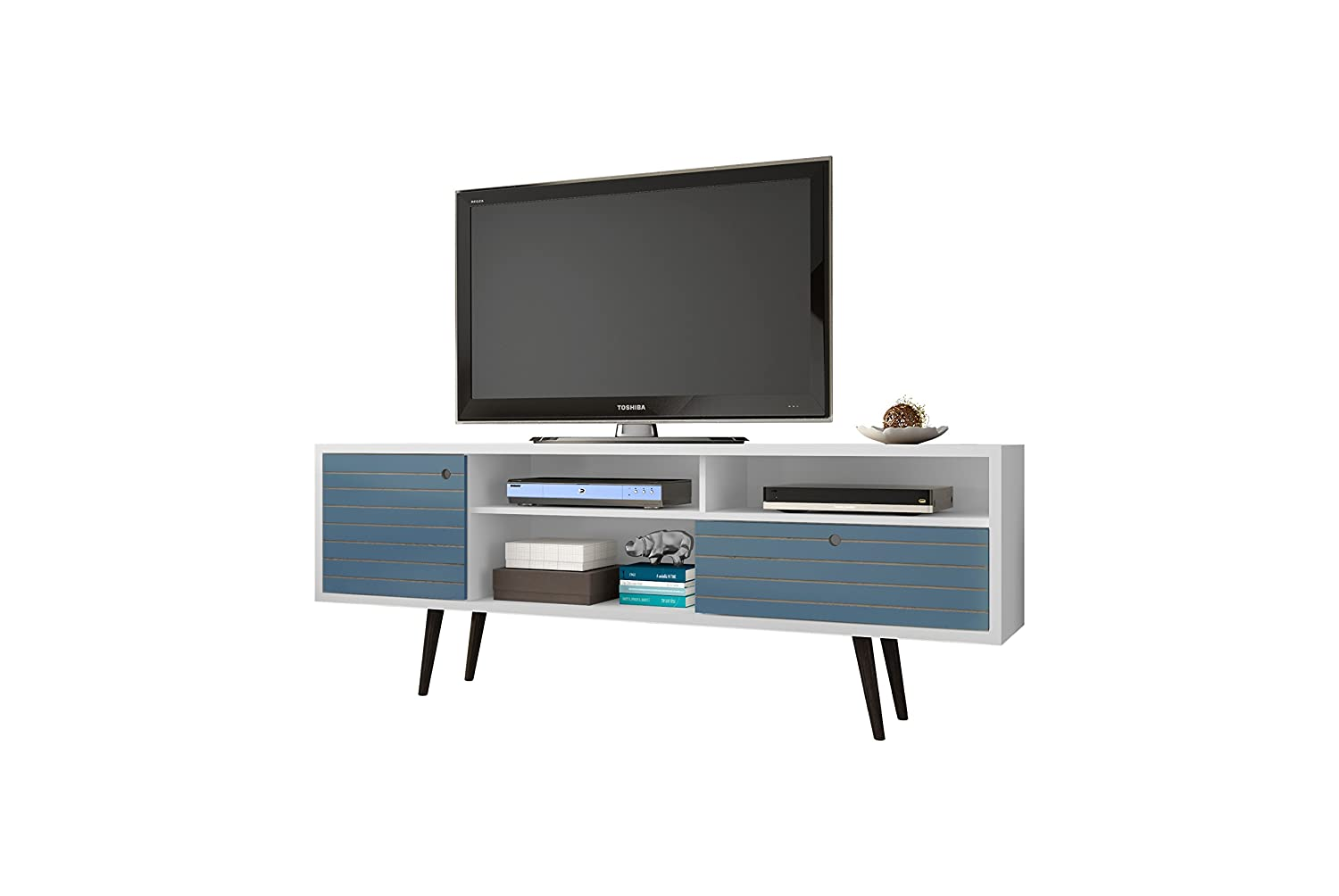 Manhattan Comfort Liberty Collection Mid Century Modern TV Stand With Three Shelves, One Cabinet and One Drawer With Splayed Legs, Blue/White