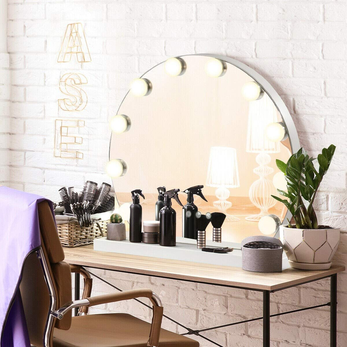 Kanizz Professional Makeup Vanity Furniture Hollywood Style Mirror with Light Tabletop Lighting Set Clear Bright Vision Makeup Artist Movie Brodcasting Studio Production House