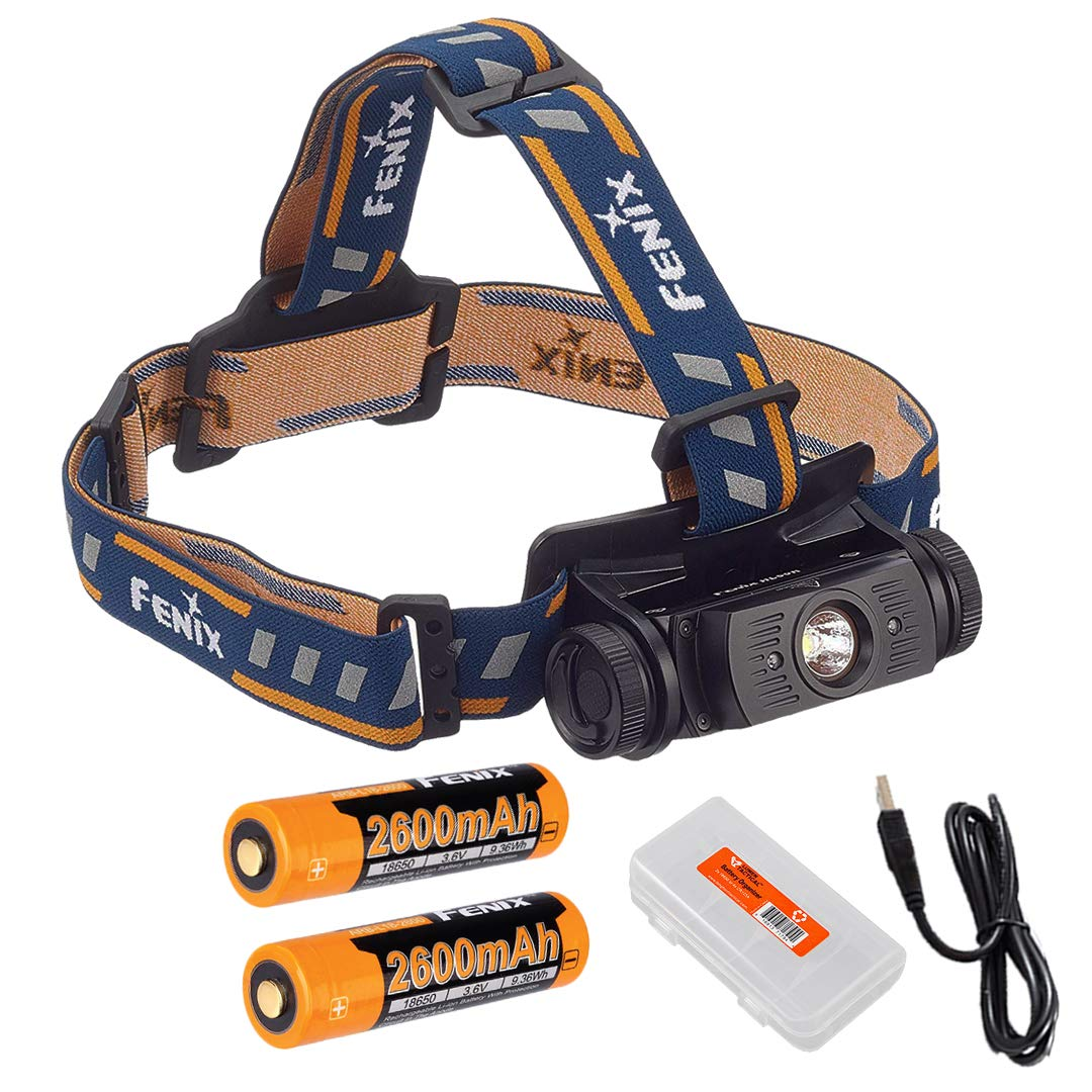 Lumen Tactical Fenix HL60R 950 Lumens Rechargeable LED Headlamp with Two Rechargeable Batteries, USB Charging Cable Battery Organizer