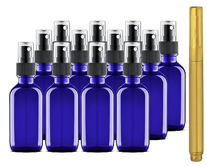 Culinaire 12 Pack de 2 Oz Botellas de Vidrio Azul con Spray Oro y Tapas de