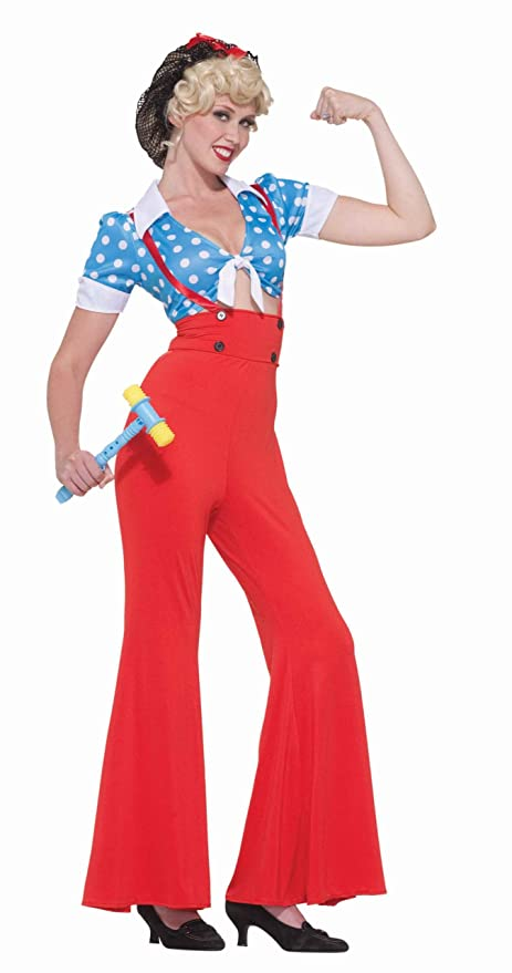 1930s Costumes- Bride of Frankenstein, Betty Boop, Olive Oyl, Bonnie & Clyde Forum Novelties Rosie the Riveter Adult Costume- $23.82 AT vintagedancer.com
