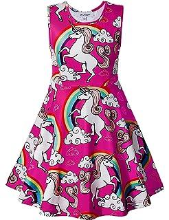 eda78b3e18 Amazon.com  Toddler Girl Easter Dress Sleeveless Unicorn Dresses Kid ...