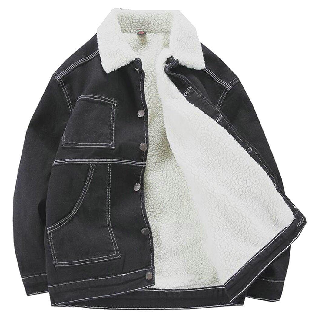 Pandapang Mens Fit Denim Lapel Fleece Button Outerwear Jacket Parka Coat Black XXS