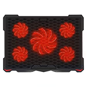 "AICHESON Laptop Cooling Pad for 17.3"" Notebook, Red 5 Fans"
