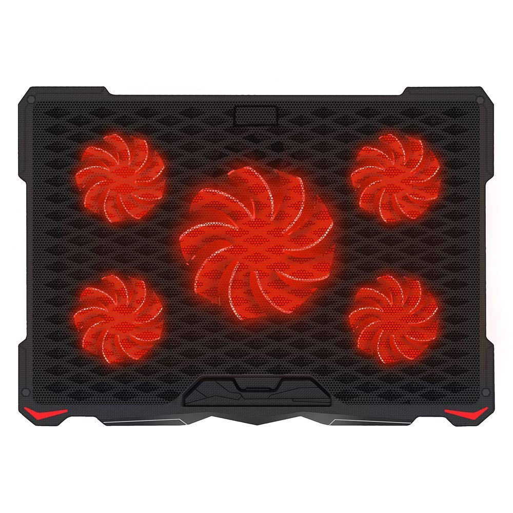 AICHESON Laptop Cooling Pad for 17.3'' Notebook, Red 5 Fans