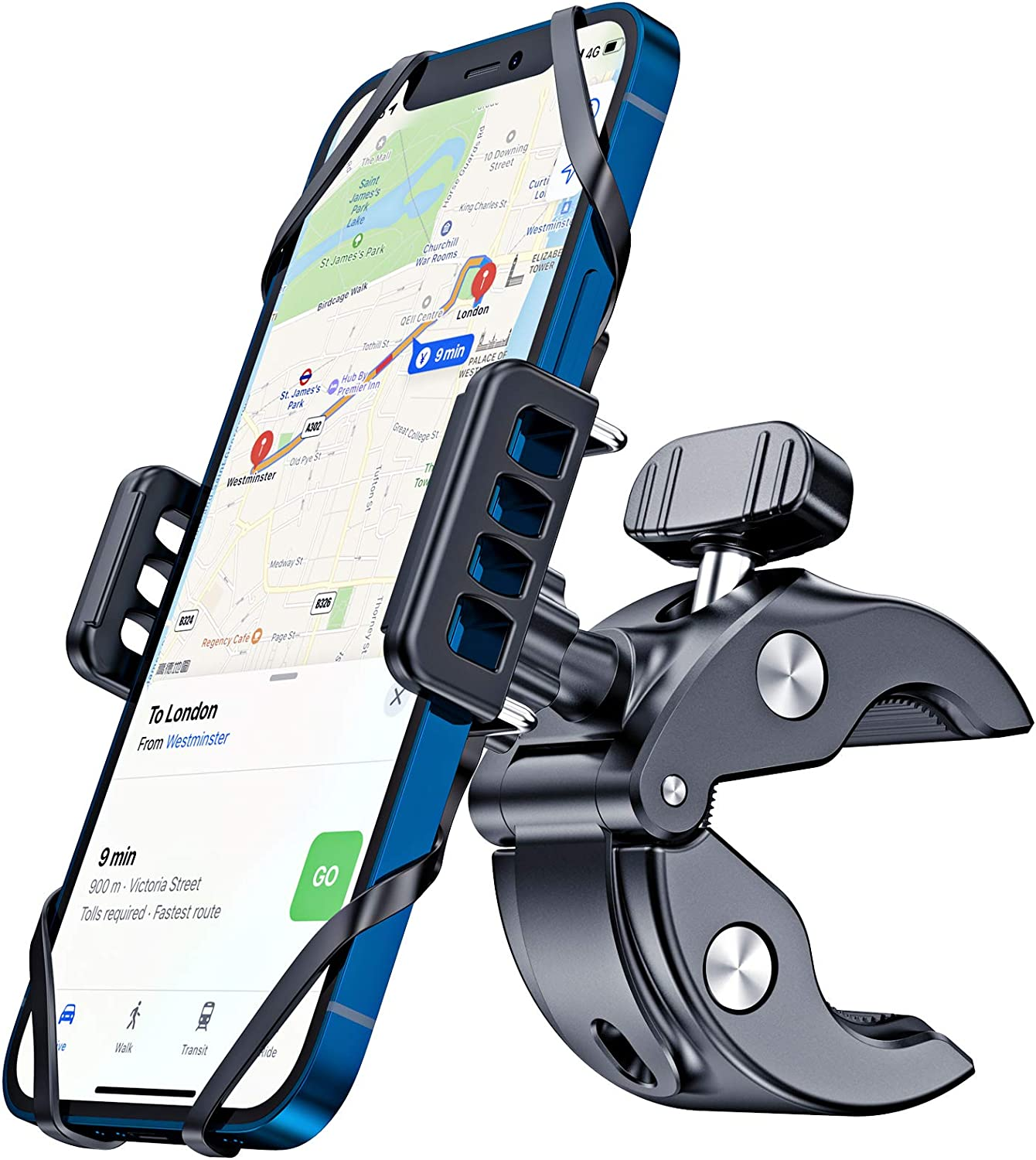CTYBB Bike & Motorcycle Phone Mount, Super Stable Phone Bike Mount with Universal Mountain Handlebar Cradle Anti-Shake Compatible with iPhone, Samsung or Any Other Smart Phones.