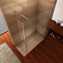 i-flair Seitenwand 30cm x 200cm inkl. Eckprofil, Spritzschutz für Walk In Dusche, 10mm STARK, aus ESG Sicherheitsglas zum Nachrüsten