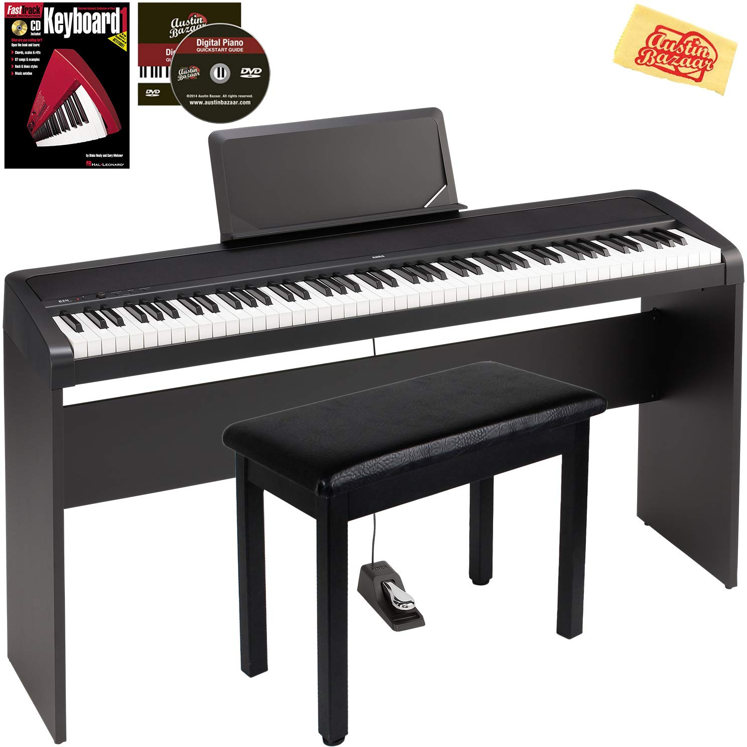 Korg B2N Digital Piano Black Bundle with Furniture-Style Stand, Sustain Pedal, Furniture-Style Bench, Instructional Book, Instructional DVD, and Polishing Cloth by Austin Bazaar