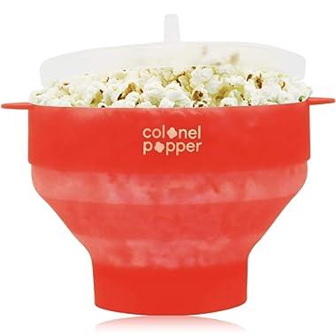 Colonel Popper Popcorn Popper Silicone Microwave Popcorn Maker Air Popper (Colonel Red)
