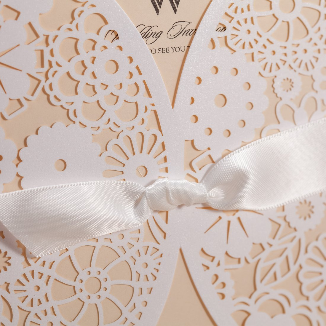 Amazon.com: Wishmade 50x Laser Cut Trifold Lace Sleeve Wedding ...