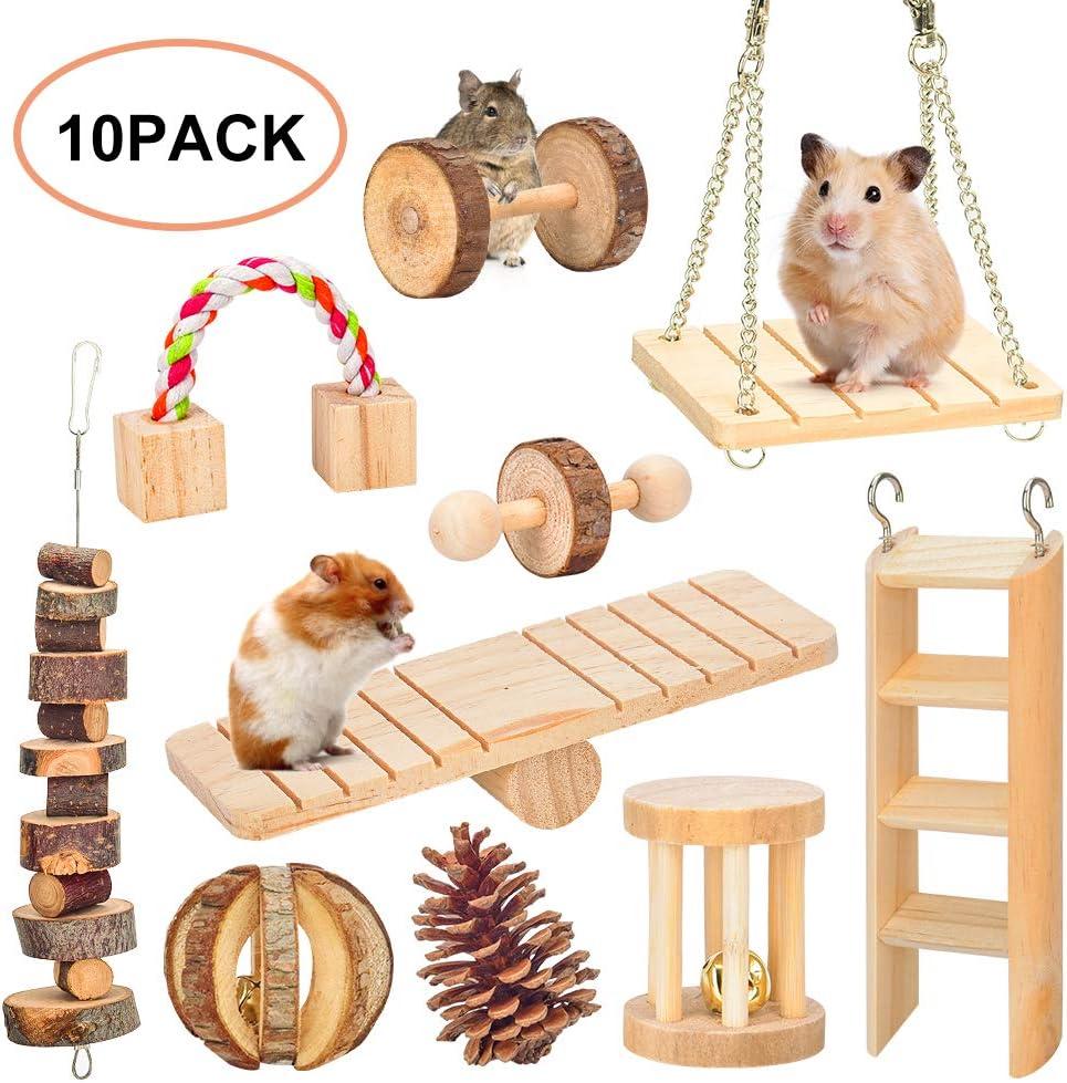Juguetes para Masticar hámster, Gerbil Rat Guinea Pig Chinchilla Chew Toys, Mancuernas de Madera Natural Ejercicio Bell Roller Dientes Cuidado Molar Juguete para Conejos Pájaro Conejo