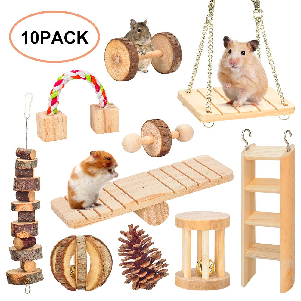 Hamster Chew Toys, Gerbil Rat Guinea Pig Chinchilla Chew Toys Accessories, Natural Wooden Dumbbells Exercise Bell Roller Teeth Care Molar Toy for Rabbits Bird Bunny (2)