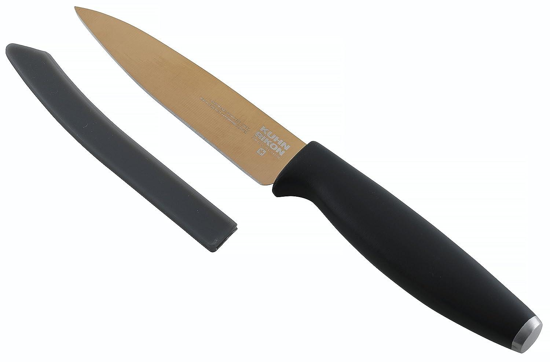 Kuhn Rikon Colori Ice-Hardened Titanium Straight Paring Knife with Safety Sheath, Rose Gold, 10.1 cm / 3.97 inch Kuhn Rikon of Switzerland 26578-20160431