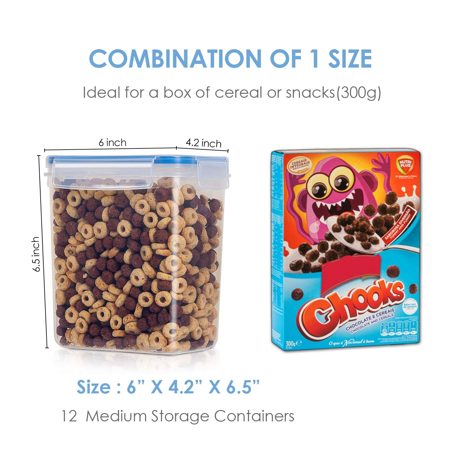 Vtopmart Airtight Food Storage Containers 12 Pieces - Plastic PBA Free Kitchen Pantry Storage Containers for Sugar,Flour and Baking Supplies - Dishwasher Safe - 24 Chalkboard Labels and 1 Marker by Vtopmart (Image #4)