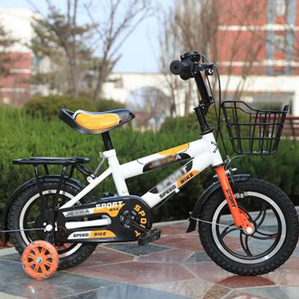 Brisk-子供時代 バスケット付きの男の子の自転車、トレーニングホイール付きの14,16または20インチの自転車、子供のための贈り物、男の子の自転車 -アウトドアスポーツ 14 inches Orange B07F65X3BL