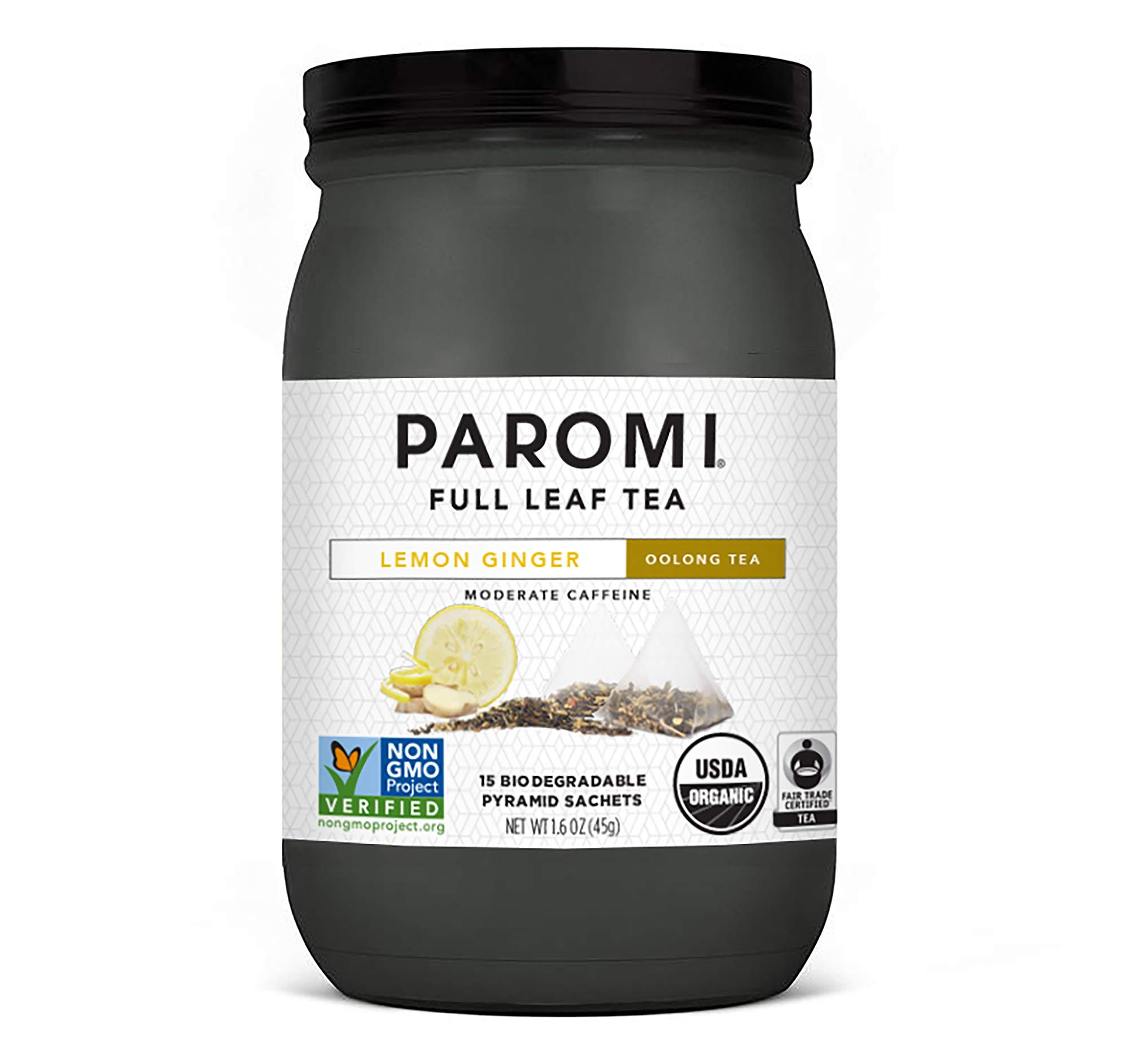 Paromi Tea Organic Lemon Ginger Oolong Tea, 15 Pyramid Tea Bags - Non-GMO by Paromi