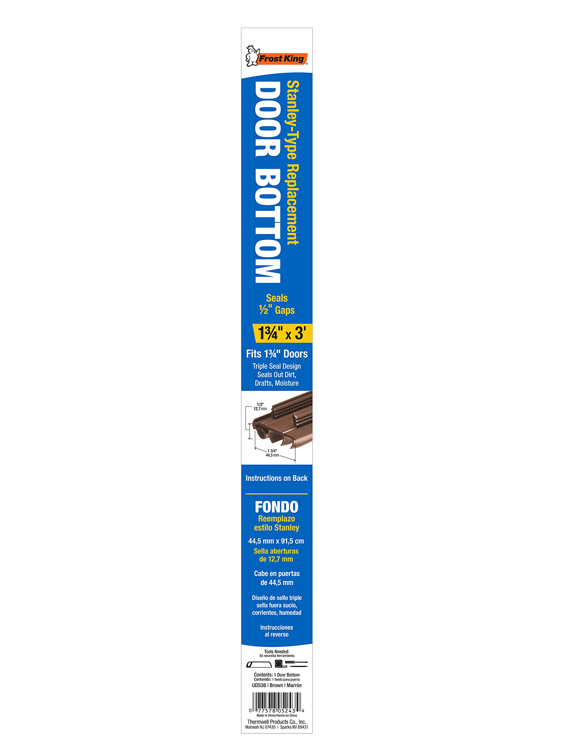 Frost King UDS36 Door Bottom, 36 in L X 1-3/4 in W, Thermoplastic 1-3/4'' x 36'' Brown by Frost King (Image #2)