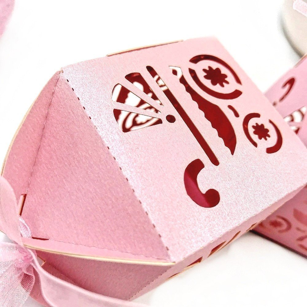 JZK 48 x Rosa cajitas bautizo con cinta para caramelos regalo bombones recuerdos para boda cumpleaños fiesta bautizos comunión detalle invitados