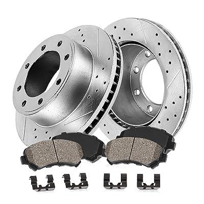 Callahan CDS02653 FRONT 324mm D/S 8 Lug [2] Rotors + Ceramic Brake Pads + Clips [ fit Silverado Suburban Sierra Yukon ]: Automotive