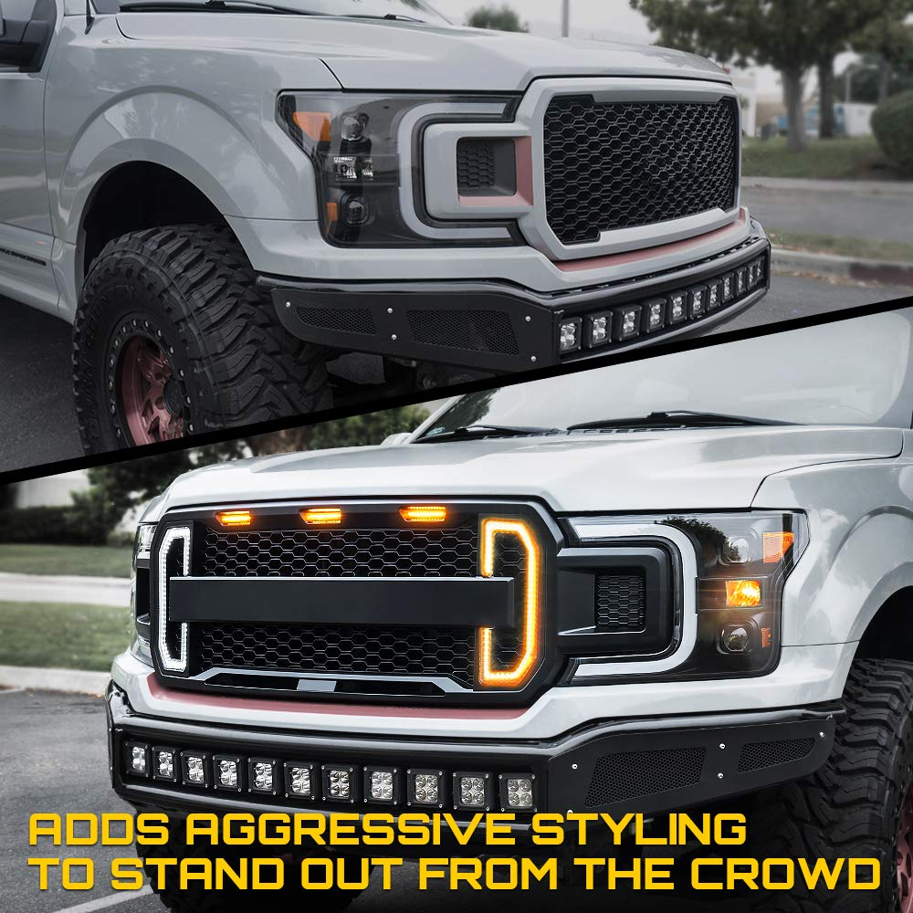 Xprite Raptor Style Front Grille with Three Amber Running Lights for 2009-2014 Ford F-150