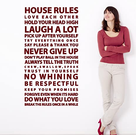 House Rules Sayings Large Wall Decal Easy Application Vinyl Family Art  Quote Home Decor Sticker (
