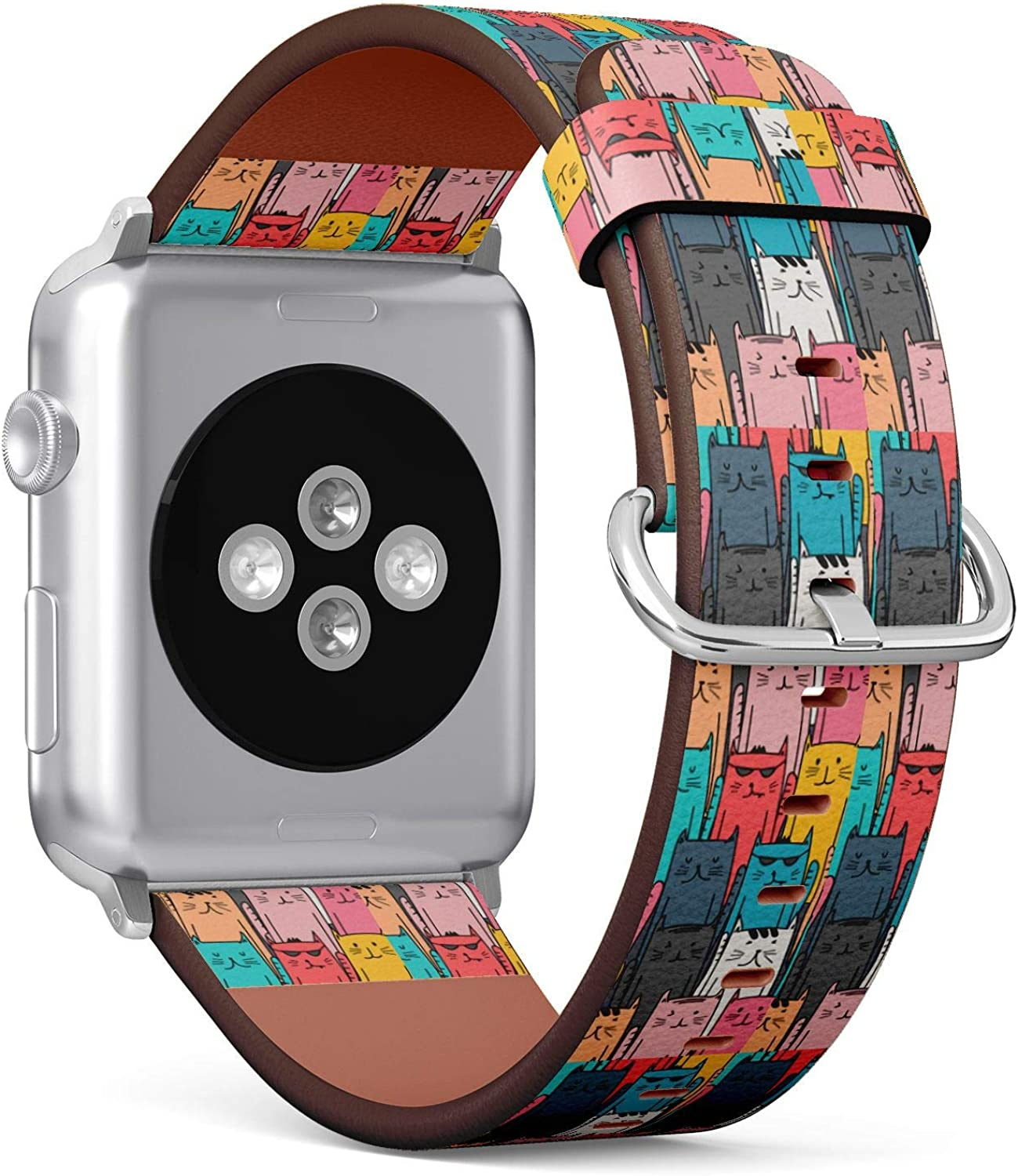 (Cute Hand Drawn Cats Doodle Art) Patterned Leather Wristband Strap for Apple Watch Series 4/3/2/1 gen,Replacement for iWatch 38mm / 40mm Bands
