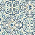 Wall Pops NU2235 Florentine Tile Peel and Stick Wallpaper, Blue