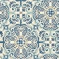 Wall Pops NU2235 Florentine Tile Peel and Stick Wallpaper, Blue