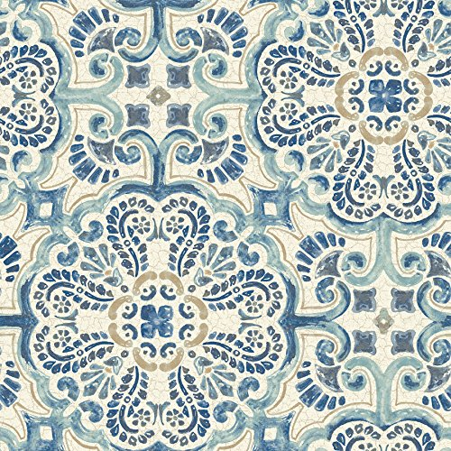 NuWallpaper NU2235 Blue Florentine Tile Peel and Stick Wallpaper,