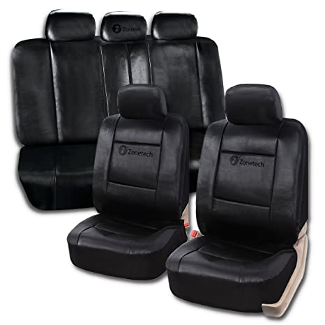 Zone Tech Universal Leather Car Seat Covers 11 Piece Classic Black Luxury Fit