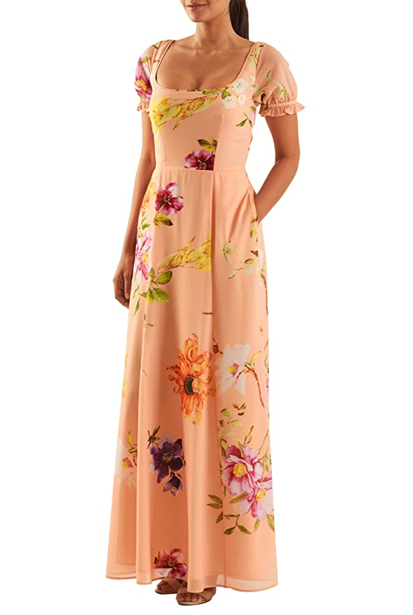 1930s Day Dresses, Afternoon Dresses History eShakti Womens Custom Floral print puff sleeve georgette maxi dress Peach multi $63.95 AT vintagedancer.com