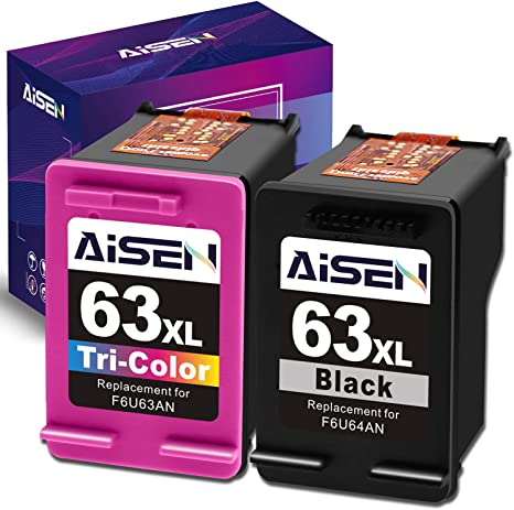 Amazon.com: AISEN - Cartucho de tinta remanufacturado HP 63 ...