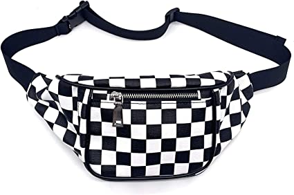 Leather Waist Bag For Women Fanny Chest Pack Plaid Money Travel Phone Pouch Bags