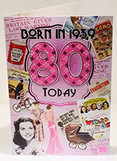 80th Birthday Card 1939 Year You Were Born Male Year Facts Inside Card