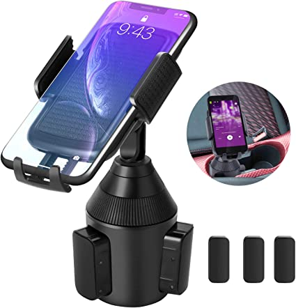 Car Cup Holder Phone Mount,Universal Smart Adjustable Automobile Cell Phone Cradle for iPhone 11 pro//Xs//Max//X//XR//8//7//6 Plus Samsung Galaxy S10//S9//S8 Note 9 Nexus Sony、HTC、Huawei、LG Short Neck