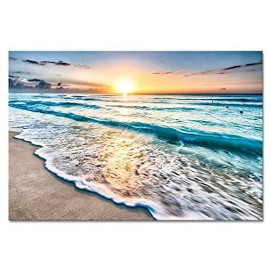 Wieco Art Sea Waves Canvas Paintings Wall Art Extra Large Seascape Artwork Modern Gallery Wrapped Ocean Beach Scenes Giclee Pictures Canvas Prints for Kitchen Dining Room Home Office Decor XL