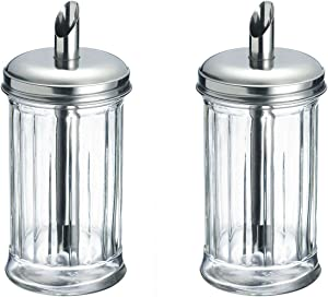 Westmark Germany 'New York' Glass Sugar Dispenser, Stainless Steel 2 Pack
