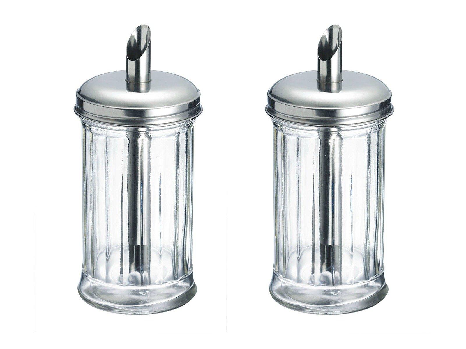 Westmark Germany 'New York' Glass Sugar Dispenser, Stainless Steel 2 Pack