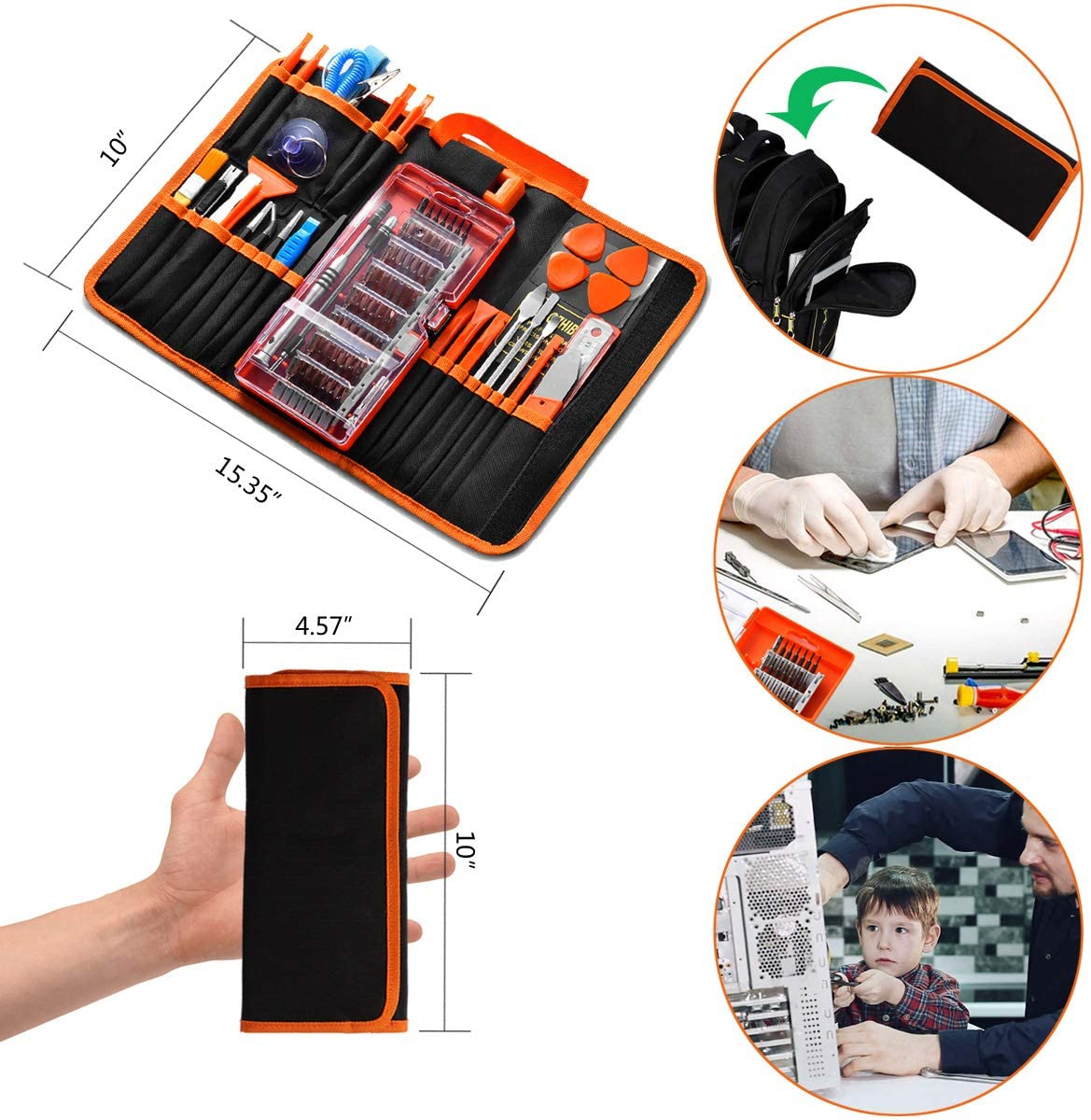 Computer iPad Laptop GANGZHIBAO 90pcs Electronics Repair Tool Kit Professional Apple iPhone PC Tablet Precision Screwdriver Set Magnetic for Fix Open Pry Cell Phone Macbook with Portable Bag