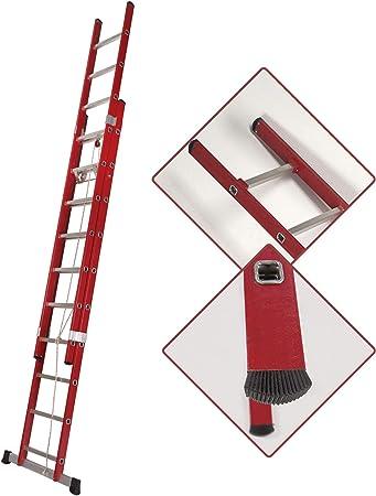 Escalera Transformable Dos Tramos de Fibra de Vidrio con Cuerda (3,5 Mts_2x12 Peldaños): Amazon.es: Bricolaje y herramientas