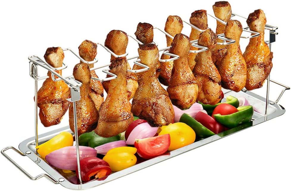 G.a HOMEFAVOR Chicken Leg Wing Rack 14 Slots Stainless Steel Metal Roaster Stand with Drip Tray for Smoker Grill or Oven, Dishwasher Safe, Non-Stick, Great for BBQ, Picnic