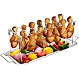 G.a HOMEFAVOR Chicken Leg Wing Rack 14 Slots Stainless Steel Metal Roaster Stand with Drip Tray for Smoker Grill or Oven, Dis