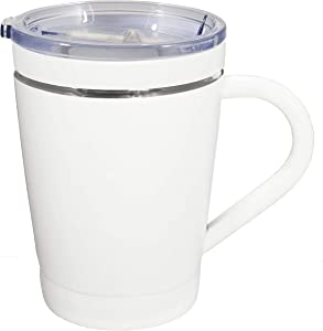 CeramiSteel Ultimate Insulated Coffee Mug with Handle (12 ounce), Ceramic Inner Coating over Stainless Steel, BPA Free Lid, Durable White Finish