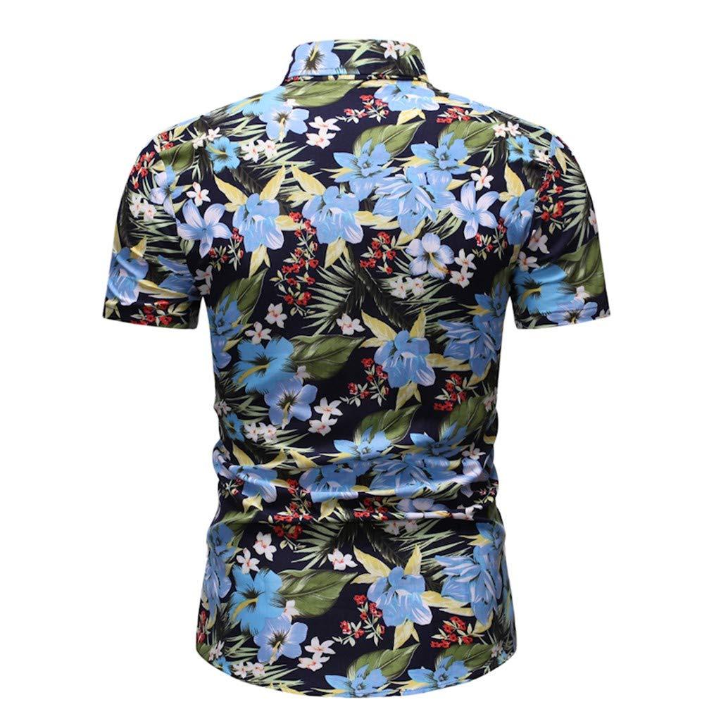 DMZing Aloha Tropical Mens Summer Hawaiian Printed Short-Sleeved Shirt Fashion Blouse Top Beach Resort