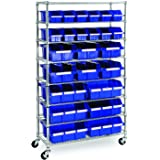 Seville Classics Commerical Grade NSF-Certified Bin Rack Storage Steel Wire Shelving System - 24 Bins - Blue
